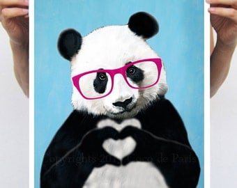 Big size Panda Poster, 11,7x16,5, panda déco, illustration of Panda with finger heart, original love gift, valentines, Chritsmas,Coco poster