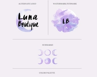 Bohemian Branding Package, Mini Branding Kit, Watercolor Logo, Moon Phase Logo, Gypsy Branding Kit, Boho Boutique Logo, Moon Watercolor Logo