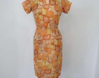 1950s - Early 1960s Abstract Print Wiggle Dress in Lustrous Orange, Gold, Rust, Tan and White