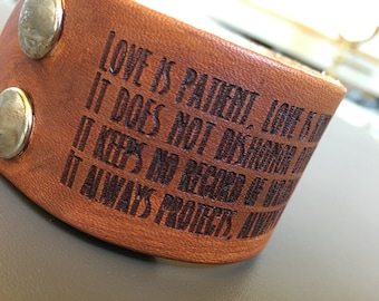 Love is... 1 Corinthians 13:4-8 Daily Reminder Golden Brown Leather Cuff