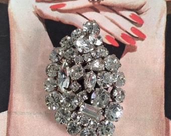 Vintage Rhinestone Leaf Shaped Brooch -- Large, Sparkling Stones!