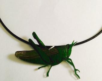 Green Grasshopper necklace