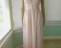 GRECIAN GODDESS/Womens Nightgown/Sheer Lingerie/Sheer Pink Nightgown/Long Pink Nightie/Boho Bohemian/Mad Men/50s Vintage Lingerie/Small 32
