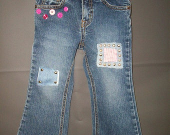 Fashion Studded & Patched Toddler Girls Jeans size 3 Adjustable waist