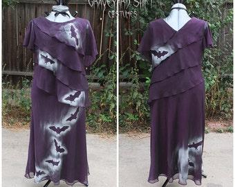 Purple Bats dress // Gothic Dress  Vampire costume  Dead Movie Star  Plus Size  Dracula Dress  Size 18  Bats gown  Halloween Costume
