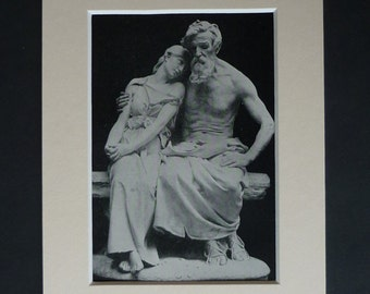 1913 Antique Jean-Baptiste Hugues Print of Oedipus, Available Framed, Classicist Art, Ancient Greek Mythology Gift, Old Sculpture Wall Art