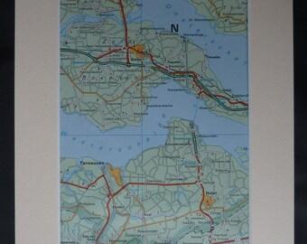 1980s Vintage Terneuzen Map, Available Framed, Goes Art, Huist Gift, Zeeland Wall Art, Retro Dutch Decor, Netherlands Picture, Kapelle Print