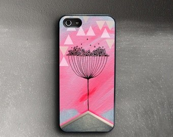 Pink iPhone 5 Case, Ieva Ekmane Painting iPhone SE Case Flower, Abstract Plant iPhone 5s Case, Pink iPhone 5c Case