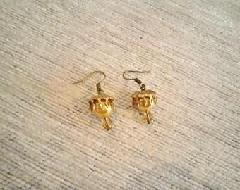 Earrings -  The Kings #2 golden brass earrings glass