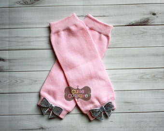 NEWBORN LEG WARMERS-Pink-Boutique Style-Leg warmer set-Pink Leg Warmers, Pink and Silver-Baby Leg Warmers-Infant Leg Warmers-Bow Leg warmers