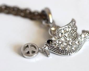 Silver Crystal Peace Dove Bird Necklace