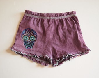 Purple Skull Frilly Baby Bloomers Shorts diaper covers. Rockabilly Cute girl bottoms. Retro Day of the Dead punk baby clothing
