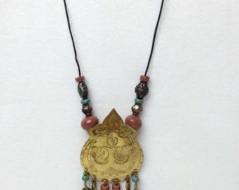 Tribal Brass Fringe Necklace/ Ethnic Pendant Beaded Necklace