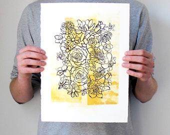 "CLEARANCE Floral Art, Gold, Purple, Metallic, Hand Pulled Screen Print, Original, Modern, Art, Living Room, Dining Room, Bedroom, 11""X14"""