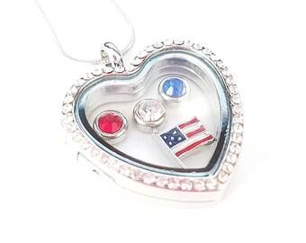 floating charm necklace etsy