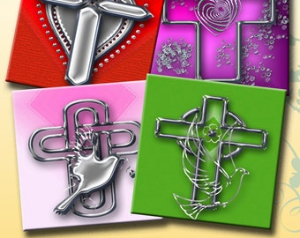 CROSSES -  Printable Digital Collage Sheet 12 X 4 inch squares for Coasters, Greeting Cards, Gift Tags.  Instant Download #222.