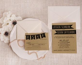 Rustic Printable Wedding Invitation Suite DEPOSIT - Minimalist, Shabby Chic, Invite Kit, Custom, DIY, Kraft Paper (Wedding Design #37)