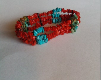 Genuine turquoise and coral chunky bracelet