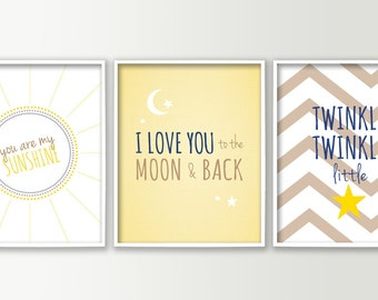 Nursery Decor - Nursery Wall Art Prints - Baby Boy or Girl You Are my Sunshine - Love you to the Moon and back - Twinkle Twinkle Little Star