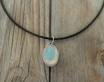 White  Opal Choker Necklace, Opal Choker, Wax Cord Choker With White Opal Pendant, Opal Pendant