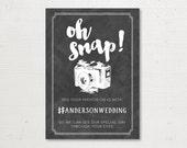 Oh Snap Wedding Photo Sign. Hashtag IG Photo Wedding Sign. Custom Wedding Sign. Custom Chalkboard Photo Sign. Digital file Photo Hashtag