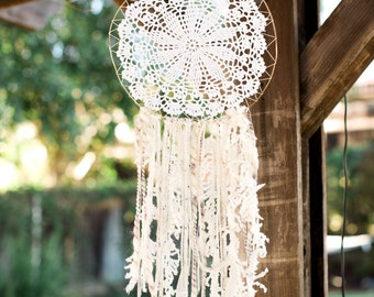 Large Neutral Dream Catcher with Feathers Doily dreamcatcher yarn dreamcatcher boho chic bohemian dreamcatcher