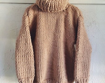 Knit Chunky Sweater Turtle Neck Sweater Big Sweater Women's Men's Clothing  Gift Ideas Made to Order Free Shipment!