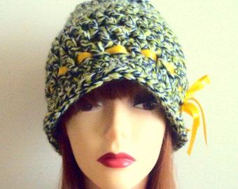 Crochet  Flapper Hat 1920's Style Cloche Hat Crochet Beanie  Chunky Hat Women Fashion Accessories Handmade Gift Ideas