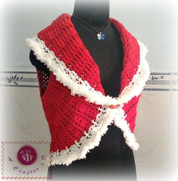 Crocheted Christmas shawl cir-collar vest - free worldwide shipping