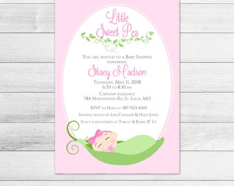 Sweet Pea Baby Shower Invitation, Girl, Printable, Digital Invite File Pink and Green