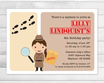 Detective Birthday Party Invitation, Printable Digital Invite File, Mystery, Top Secret, Girl