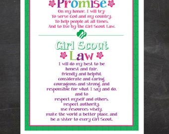 Girl Scout Promise and Law Printable {Instant Download}, Girl Scout Printable, Girl Scout Leader