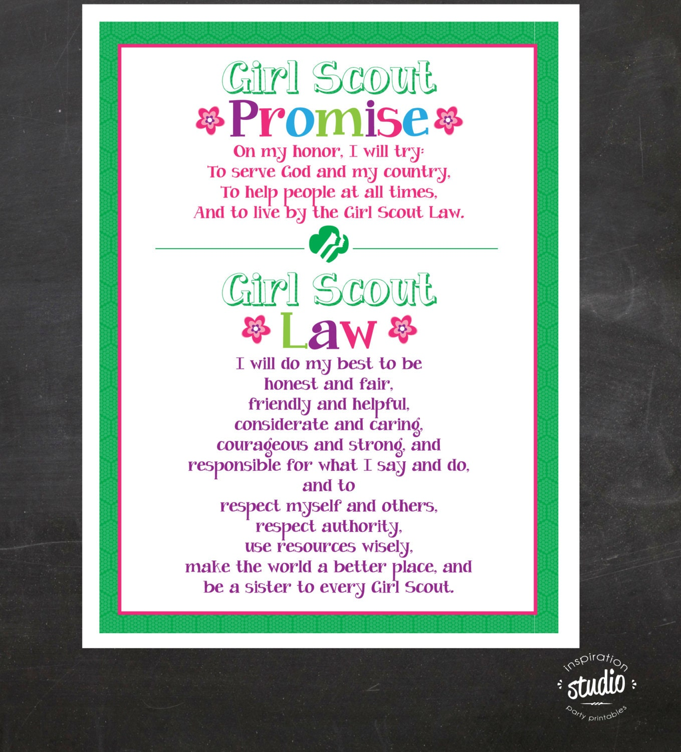 Insane image in girl scouts promise printable