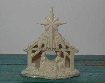 Nativity Light, Handcrafted Ceramic Nativity Light, All In One Nativity, Christmas Decoration, Christian Decoration, Holiday Night Light
