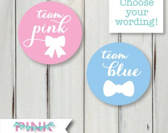Gender Reveal Party Stickers / Decor - 2 inch round - Pick Team Pink or Blue - Boy or Girl - Game Activity - Neutral Baby Shower Sip and See