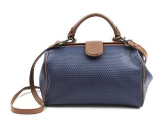 1980s Liz Claiborne bag • dark blue doctor's bag • convertible cross body satchel bag • Claiborne logo print bag