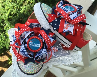 NEW ENGLAND PATRIOTS Shoes - Patriots Bow - Football - Cheerleader - Crystals - Rhinestone converse - Infant/Toddler/Youth - Patriots outfit