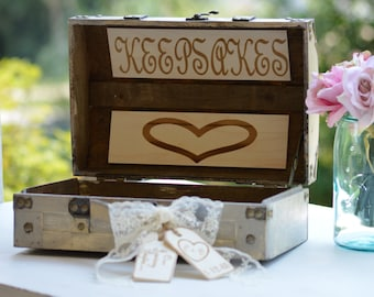 personalized keepsake box, shabby chic wedding memories box, rustic wedding scrapbook, advice box, bridal shower gift, gift for the bride
