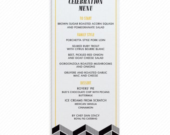 Modern Herringbone Printable Wedding Dinner Menu with Print-at-Home Thank You Card Print-ready Place cards and Geometric Table Number Card