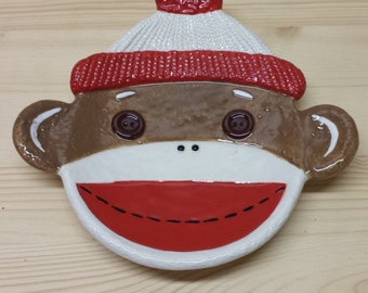 Sock Monkey Small Ceramic Plate Appetizer Plate, Spoon Rest, Decor