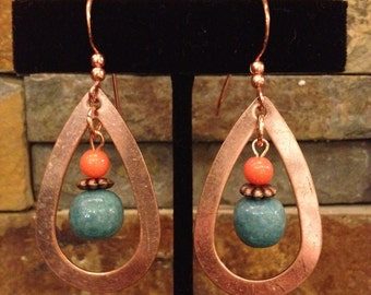 Copper, Coral, and Turquoise Blue Teardrop Earrings