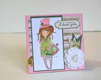 Handmade Card- Just Remember I Love You - Gorjuss Stamped Image in Pink, green and White
