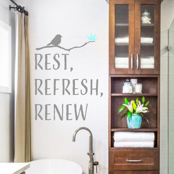 Refresh Quotes: Rest Refresh Renew Vinyl Lettering Wall Decals Words Decal