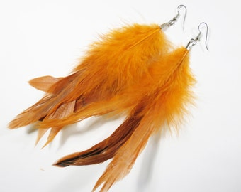 Bright Orange Long Rooster Feather Dangle Drop Earrings, Long Orange Boho Earrings, Orange Feather Earrings, Orange Bohemian Boho Jewelry