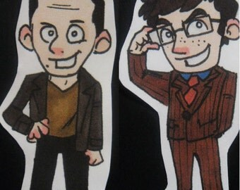 Ninth and Tenth Doctor stickers - Doctor Who inspired - Christopher Eccleston and David Tennant
