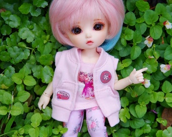 Lati Yellow/Pukifee - Hoodie Jacket Coat Sleeveless No Hat - Pink Color