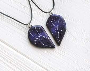 half heart necklace big dipper pendant little gift two hearts. Black Bedroom Furniture Sets. Home Design Ideas