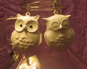 WHITE OWL Earrings