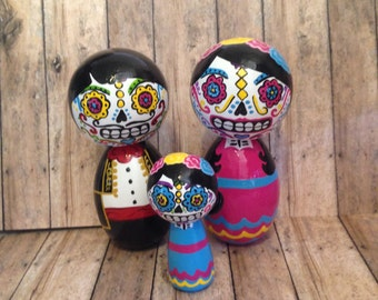 Made to order: XL Day of the Dead Peg People Couple with Children
