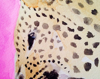 Print of the original watercolor painting 'Leapie the Leopard'